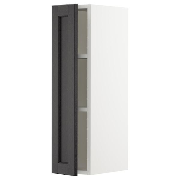 METOD Élément mural + tablettes, blanc/Lerhyttan teinté noir, 20x80 cm
