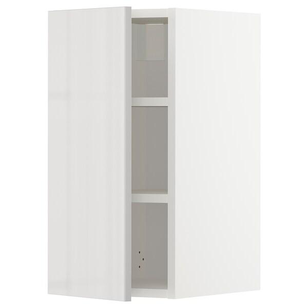 METOD Élément mural + tablettes, blanc/Ringhult gris clair, 30x60 cm