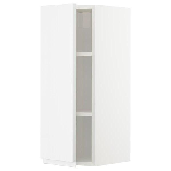METOD Élément mural + tablettes, blanc/Voxtorp brillant/blanc, 30x80 cm