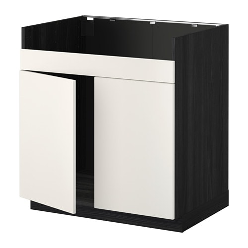 metod l ment pour vier domsj 2 bacs effet bois noir veddinge blanc ikea. Black Bedroom Furniture Sets. Home Design Ideas