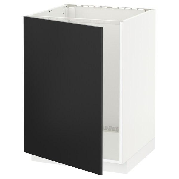 METOD Élt bas évier, blanc/Uddevalla anthracite, 60x60 cm