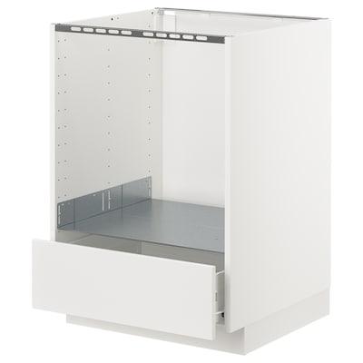 METOD / FÖRVARA Élément bas pour four avec tiroir, blanc/Veddinge blanc, 60x60 cm