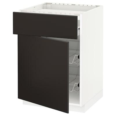 METOD / FÖRVARA Élt bas tbl cuiss/tiroir/2corb fil, blanc/Kungsbacka anthracite, 60x60 cm