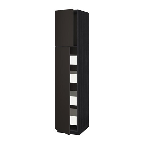 metod f rvara armoire 2 portes 4 tiroirs effet bois noir kungsbacka anthracite 40x60x200. Black Bedroom Furniture Sets. Home Design Ideas