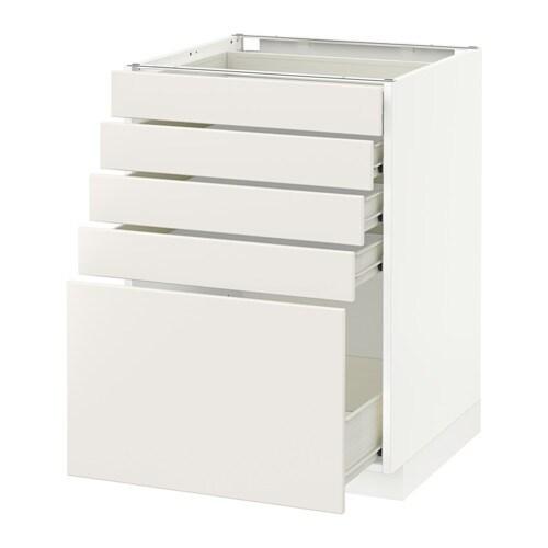 Metod f rvara l ment bas 5 tiroirs veddinge blanc - Element bas cuisine ikea ...