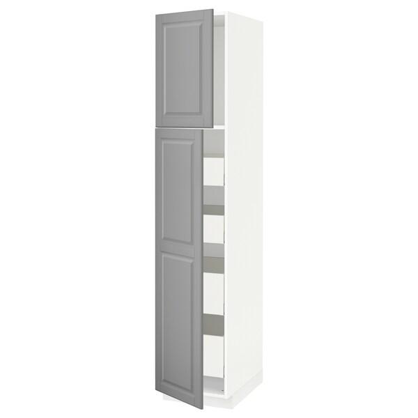 METOD / MAXIMERA Armoire 2 portes/4 tiroirs, blanc/Bodbyn gris, 40x60x200 cm