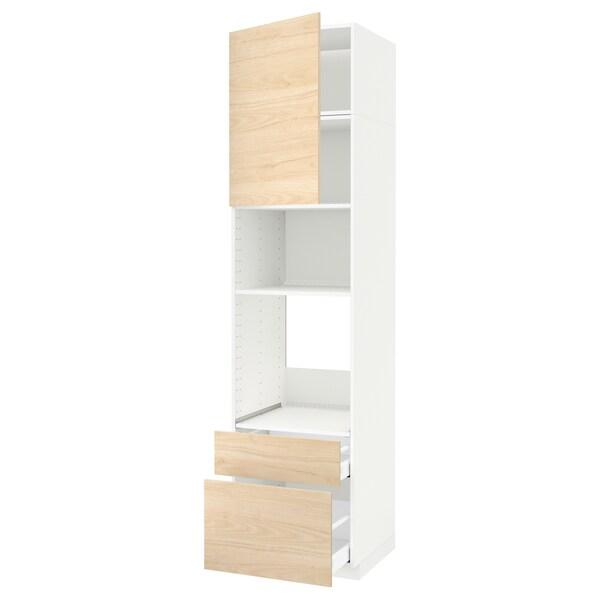METOD / MAXIMERA Armoire four/micro-ondes+porte/2tir, blanc/Askersund effet frêne clair, 60x60x240 cm