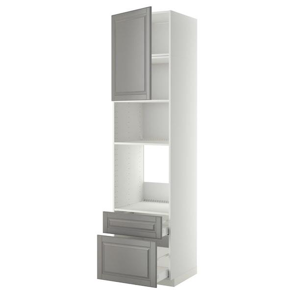 METOD / MAXIMERA Armoire four/micro-ondes+porte/2tir, blanc/Bodbyn gris, 60x60x240 cm