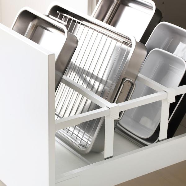 METOD / MAXIMERA Armoire four/micro-ondes+porte/2tir, blanc/Bodbyn gris, 60x60x220 cm