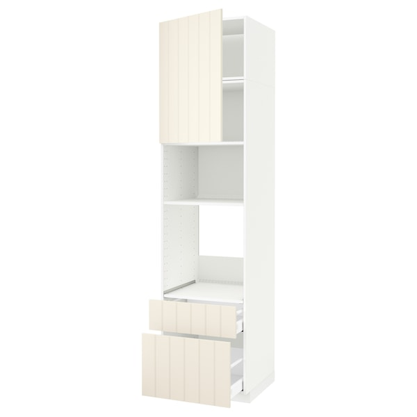 METOD / MAXIMERA Armoire four/micro-ondes+porte/2tir, blanc/Hittarp blanc cassé, 60x60x240 cm