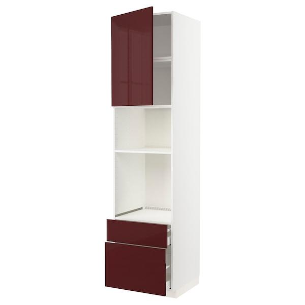 METOD / MAXIMERA Armoire four/micro-ondes+porte/2tir, blanc Kallarp/brillant brun-rouge foncé, 60x60x240 cm