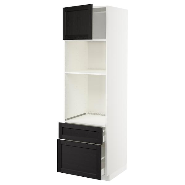 METOD / MAXIMERA Armoire four/micro-ondes+porte/2tir, blanc/Lerhyttan teinté noir, 60x60x200 cm