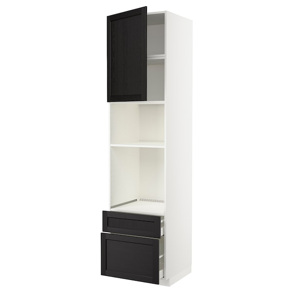 METOD / MAXIMERA Armoire four/micro-ondes+porte/2tir, blanc/Lerhyttan teinté noir, 60x60x240 cm