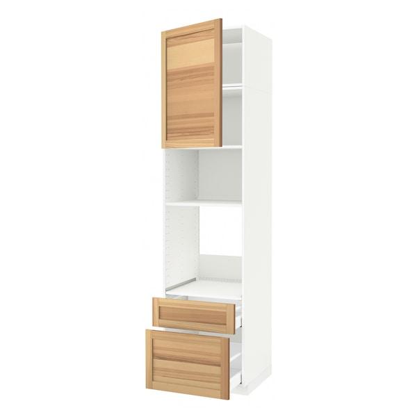 METOD / MAXIMERA Armoire four/micro-ondes+porte/2tir, blanc/Torhamn frêne, 60x60x240 cm