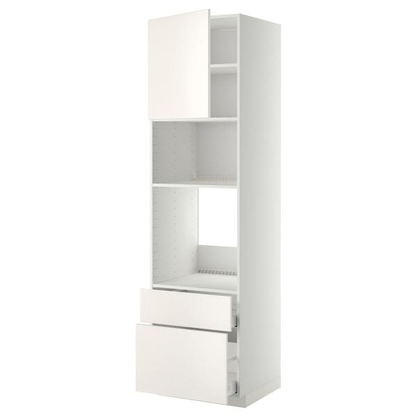 METOD / MAXIMERA Armoire four/micro-ondes+porte/2tir, blanc/Veddinge blanc, 60x60x220 cm