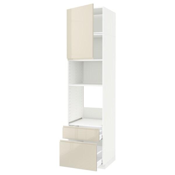 METOD / MAXIMERA Armoire four/micro-ondes+porte/2tir, blanc/Voxtorp beige clair brillant, 60x60x240 cm