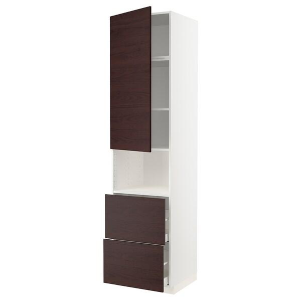 METOD / MAXIMERA Armoire micro-ondes av porte/2 tir, blanc Askersund/brun foncé décor frêne, 60x60x240 cm