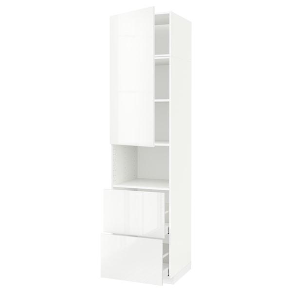 METOD / MAXIMERA Armoire micro-ondes av porte/2 tir, blanc/Ringhult blanc, 60x60x240 cm