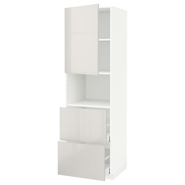 METOD / MAXIMERA Armoire micro-ondes av porte/2 tir, blanc/Ringhult gris clair, 60x60x200 cm