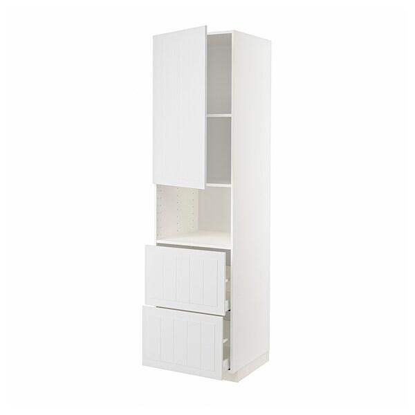 METOD / MAXIMERA Armoire micro-ondes av porte/2 tir, blanc/Stensund blanc, 60x60x220 cm