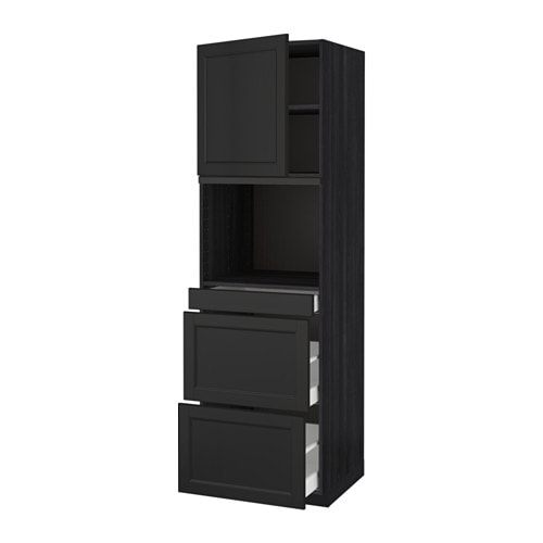 metod maximera armoire micro ondes av porte 3 tir laxarby brun noir 60x60x200 cm ikea. Black Bedroom Furniture Sets. Home Design Ideas