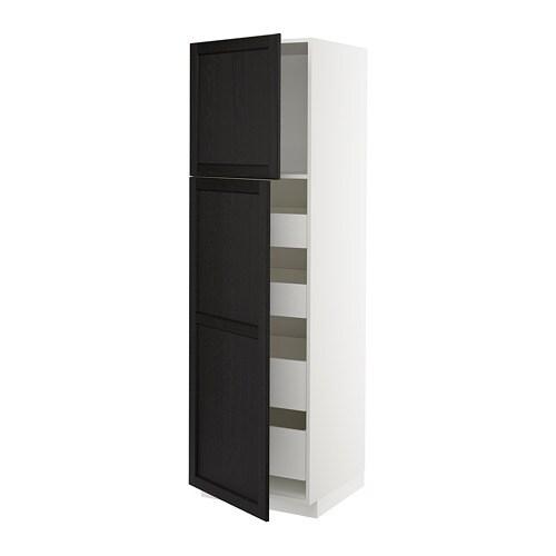 metod maximera armoire 2 portes 4 tiroirs lerh teint noir 60x60x200 cm ikea. Black Bedroom Furniture Sets. Home Design Ideas