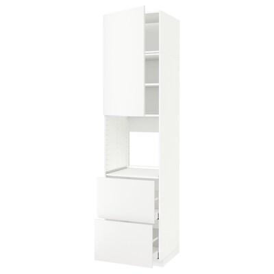 METOD / MAXIMERA Armoire pour four+porte/2 tiroirs, blanc/Häggeby blanc, 60x60x240 cm