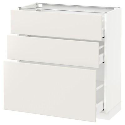METOD / MAXIMERA élément bas 3 tiroirs blanc/Veddinge blanc 80.0 cm 39.2 cm 88.0 cm 37.0 cm 80.0 cm