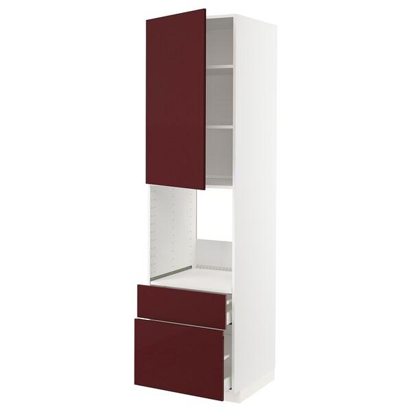 METOD / MAXIMERA Él ar p four+tir/2fcs/1timoy/2t h, blanc Kallarp/brillant brun-rouge foncé, 60x60x220 cm