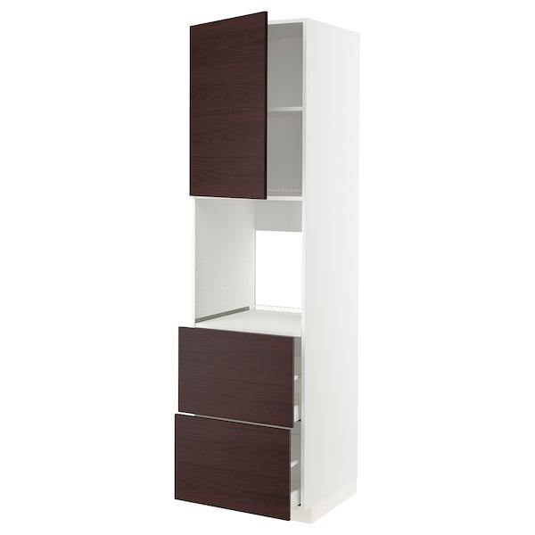METOD / MAXIMERA Él ar p four+tir/2fcs/2tir h, blanc Askersund/brun foncé décor frêne, 60x60x220 cm