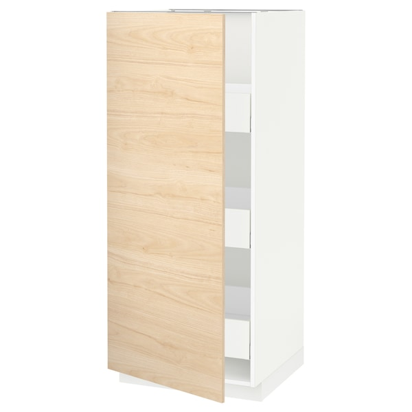METOD / MAXIMERA Élément armoire avec tiroirs, blanc/Askersund effet frêne clair, 60x60x140 cm