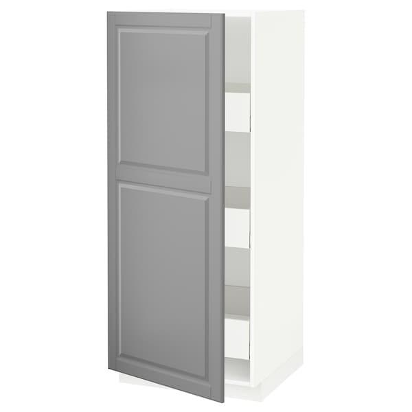 METOD / MAXIMERA Élément armoire avec tiroirs, blanc/Bodbyn gris, 60x60x140 cm