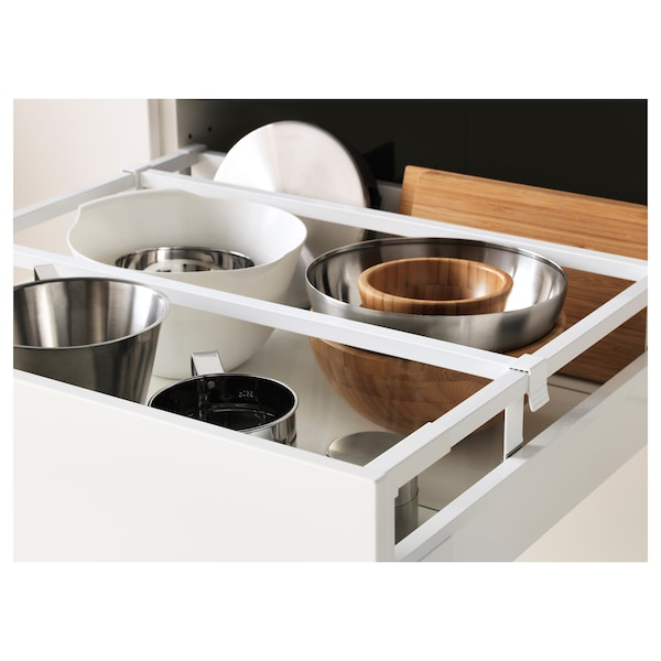 METOD / MAXIMERA Élément armoire avec tiroirs, blanc/Häggeby blanc, 60x60x140 cm
