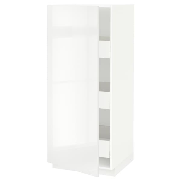 METOD / MAXIMERA Élément armoire avec tiroirs, blanc/Ringhult blanc, 60x60x140 cm