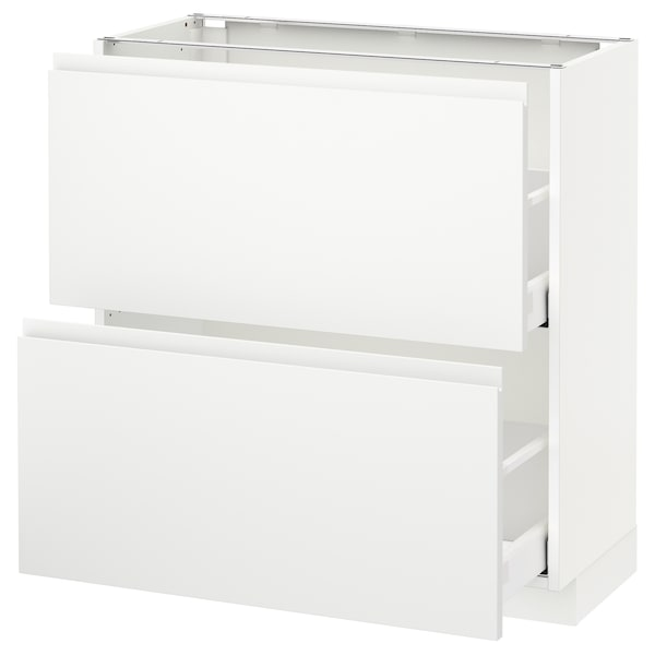 METOD / MAXIMERA Élément bas 2 tiroirs, blanc/Voxtorp blanc mat, 80x37 cm