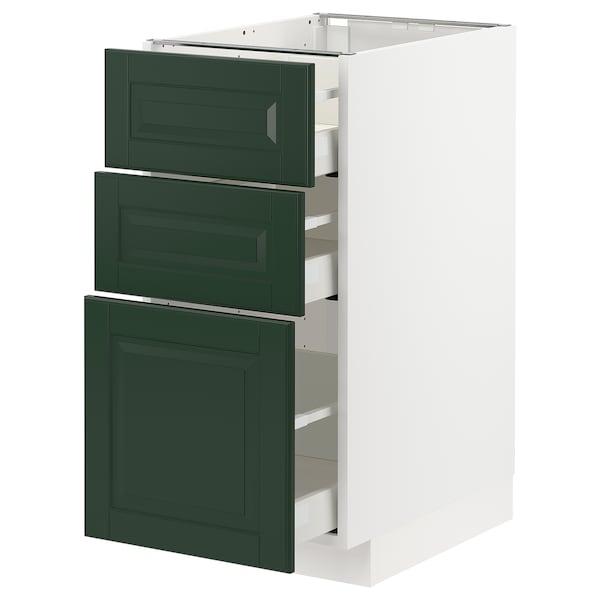 METOD / MAXIMERA Élément bas 3 tiroirs, blanc/Bodbyn vert foncé, 40x60 cm
