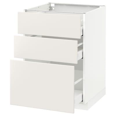 METOD / MAXIMERA Élément bas 3 tiroirs, blanc/Veddinge blanc, 60x60 cm