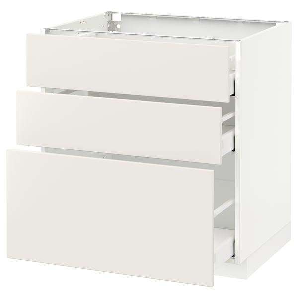 METOD / MAXIMERA Élément bas 3 tiroirs, blanc/Veddinge blanc, 80x60 cm