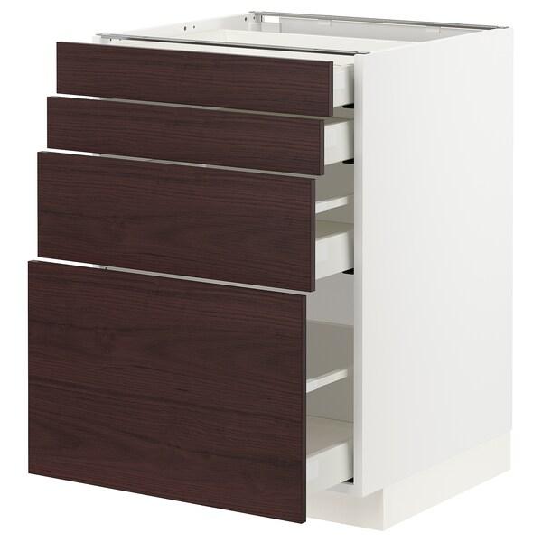 METOD / MAXIMERA Élément bas 4 faces/4 tiroirs, blanc Askersund/brun foncé décor frêne, 60x60 cm