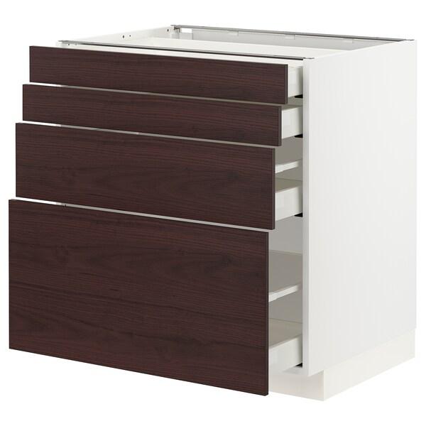 METOD / MAXIMERA Élément bas 4 faces/4 tiroirs, blanc Askersund/brun foncé décor frêne, 80x60 cm