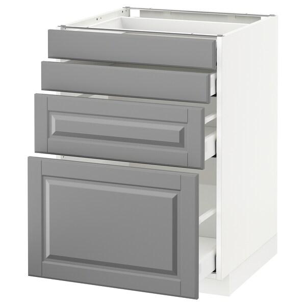 METOD / MAXIMERA Élément bas 4 faces/4 tiroirs, blanc/Bodbyn gris, 60x60 cm