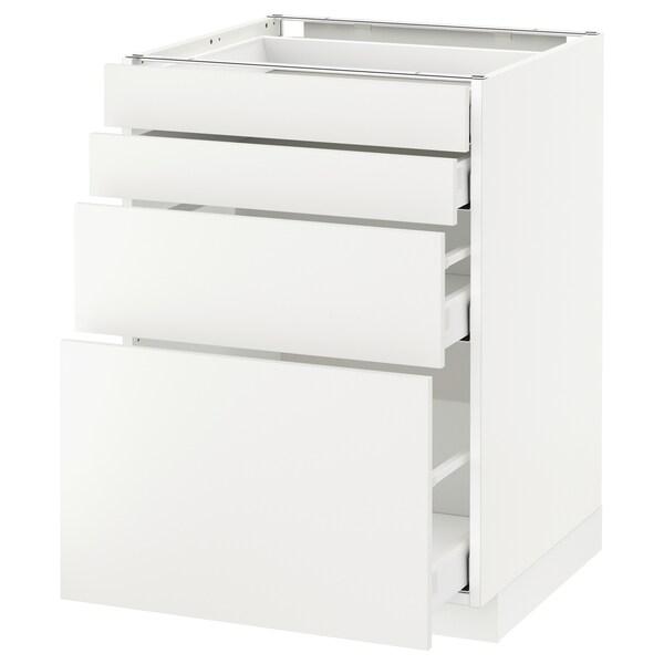 METOD / MAXIMERA Élément bas 4 faces/4 tiroirs, blanc/Häggeby blanc, 60x60 cm
