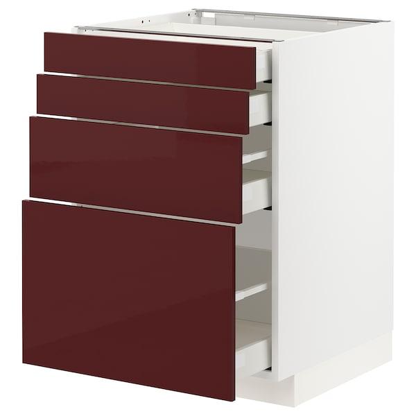 METOD / MAXIMERA Élément bas 4 faces/4 tiroirs, blanc Kallarp/brillant brun-rouge foncé, 60x60 cm