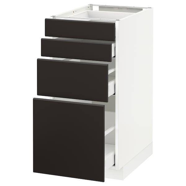 METOD / MAXIMERA Élément bas 4 faces/4 tiroirs, blanc/Kungsbacka anthracite, 40x60 cm