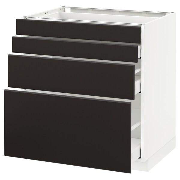 METOD / MAXIMERA Élément bas 4 faces/4 tiroirs, blanc/Kungsbacka anthracite, 80x60 cm
