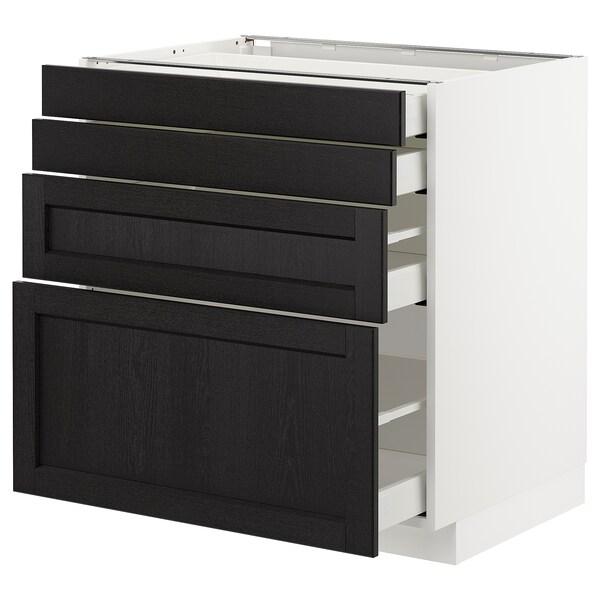 METOD / MAXIMERA Élément bas 4 faces/4 tiroirs, blanc/Lerhyttan teinté noir, 80x60 cm