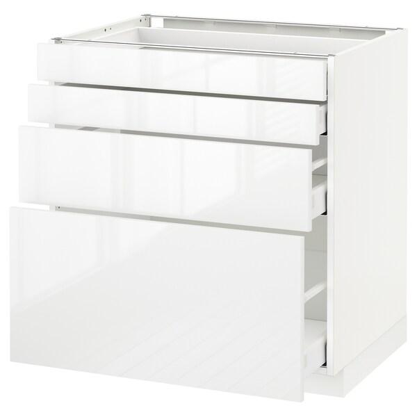 METOD / MAXIMERA Élément bas 4 faces/4 tiroirs, blanc/Ringhult blanc, 80x60 cm