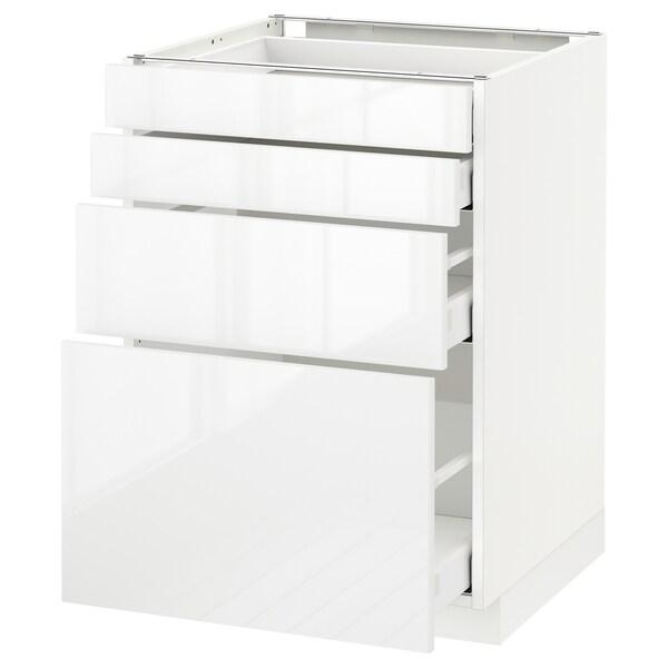 METOD / MAXIMERA Élément bas 4 faces/4 tiroirs, blanc/Ringhult blanc, 60x60 cm