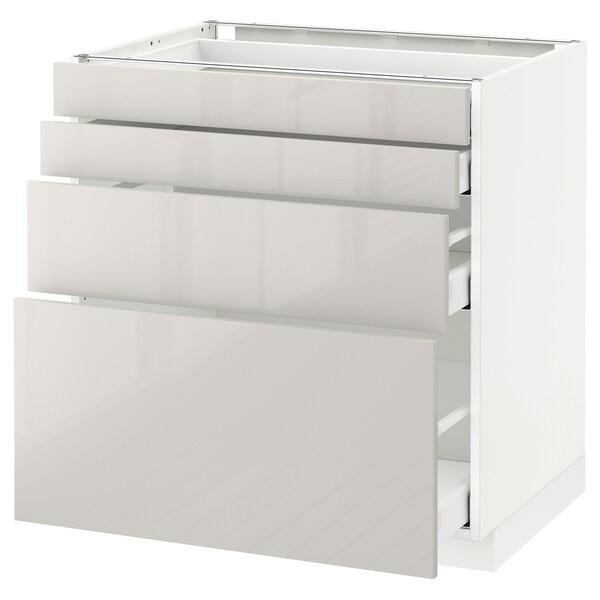 METOD / MAXIMERA Élément bas 4 faces/4 tiroirs, blanc/Ringhult gris clair, 80x60 cm