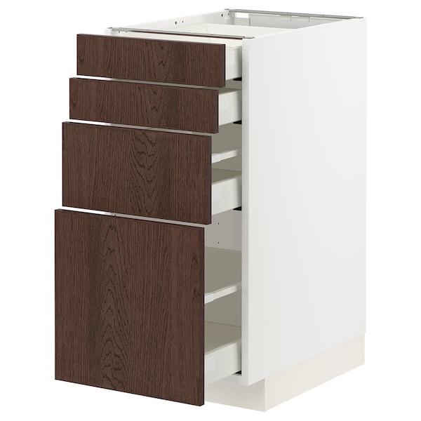 METOD / MAXIMERA Élément bas 4 faces/4 tiroirs, blanc/Sinarp brun, 40x60 cm